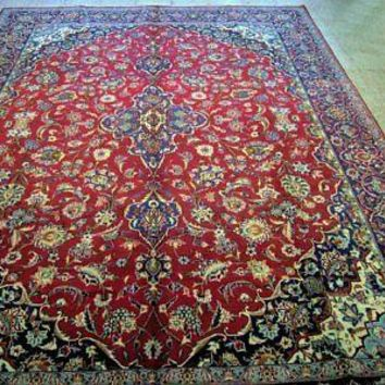 8x13 Wool Persian Tabriz Red Small Medallion Handmade Kitchen Area Rug