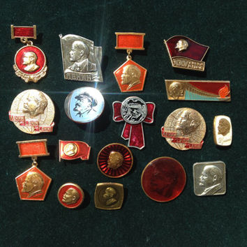 Set of 17 Soviet vintage Lenin Komsomol communist pin ussr collectibles collector