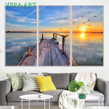 Golden Pier Sunset Poster Print Canvas Oil Painting Picture Wall Poster Home Decor Modern Wall Picture Canvas Painting 3 Piece
