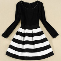 Plus Size Black Long Sleeve Striped A-Line Dress