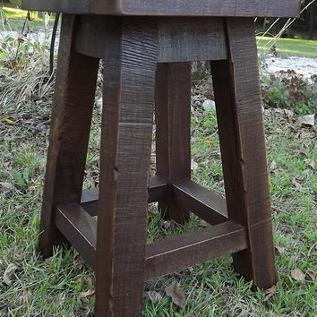 "Reclaimed wood/ Solid Walnut/ Rustic/ stool / shop stool/ old fashion/ rough sawn/ 18""H"