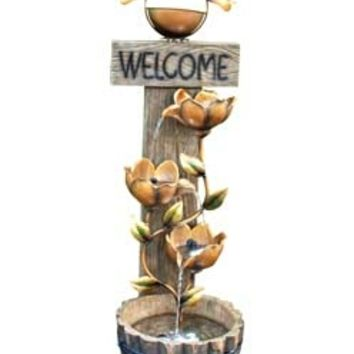 A.M.B. Furniture & Design :: Patio furniture :: Garden Accessories :: Welcome Copper and bronze finish indoor / outdoor water fountain with flower vine fountain