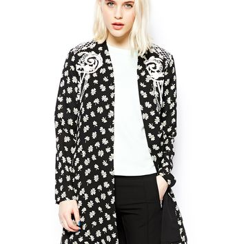 ASOS Jacket in Longline with Print & Embroidery