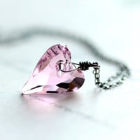 Pink Heart Necklace - Large Pink Swarovski Crystal Heart on Sterling Silver Chain Pastel Pink