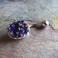 Sparkly Purple Druzy Belly Button Jewelry Ring