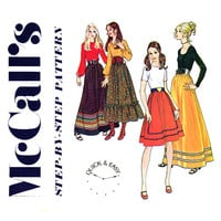 1970s Skirt Pattern Waist 29 to 31 UNCUT McCalls 2929 Beginners Easy to Sew Boho Maxi Skirts Learn to Sew Womens Vintage Sewing Patterns