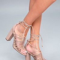 Kiana Nude Caged Lace-Up Heels