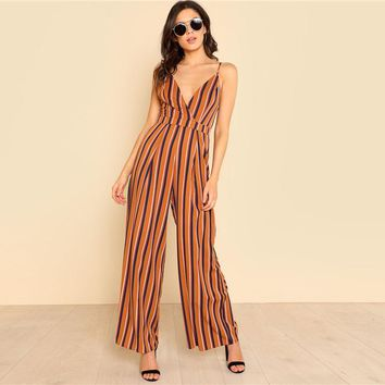 Fashion Leg Jumpsuit  Spaghetti Strap Sleeveless Backless High Waist  Women Sexy Jumpsuit