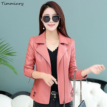 Timmiury 2017 Women Short Sexy Faux Leather Jackets Black/Pink Zipper Plus Size 4XL Slim Fit Veste Cuir Femme Shearling Coats