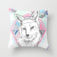 Fox Throw Pillow by Wendy Ding: Illustration