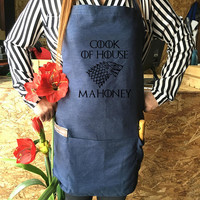 Game of Thrones Apron. House Name Personalized Game of Thrones, Personalized Jean apron Kitchen Game of Thrones Gift,