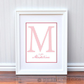Monogram Baby Print - Nursery Room - Personalized Baby Polka Dot Large Initial Letter for Nursery Rooms-