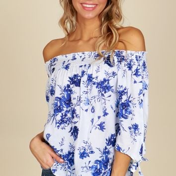 Off The Shoulder Floral Print Top White/Blue