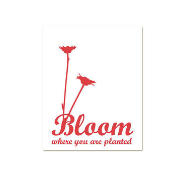 Bloom Where You are Planted Coral Red Pink by hairbrainedschemes