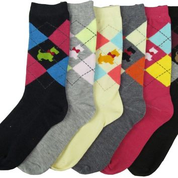 Hibaly Women's Crew Socks - Argyle Design With Dog Size 9-11(Pack Of 120)