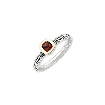 Sterling Silver, 14k Yellow Gold Plated, Bezel Set Garnet Stack Ring