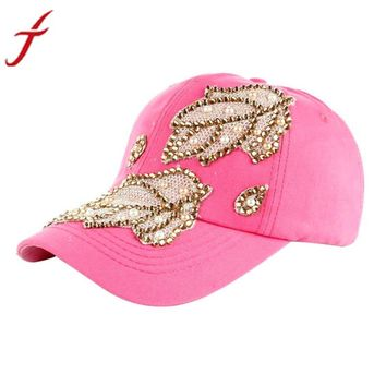 Women Men Denim Snapback Fashion Leaves Rhinestone Baseball Cap gorras Hip Hop Hat bone masculino
