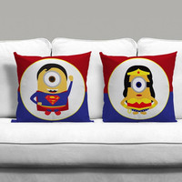 Minion Avengers Superman And Wonderwoman Couples Square Pillow Covers Pillow Case Gift Couples Case