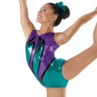 Metallic Wave Flame Gymnastics Leotard - Balera