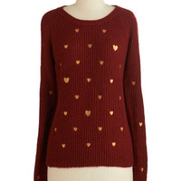 ModCloth Darling Mid-length Long Sleeve Ticker Talk Sweater