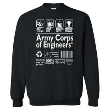 Army Corps Of Engineering Multi Tasking Likes Beer Requires Coffee Problem Solving - Heavy Blend™ Crewneck Sweatshirt