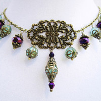 Teal and Purple Crystal & Bronze Filigree Pendant Dangly Boho Chic Necklace