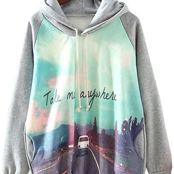 Grey Hooded Long Sleeve Car Print Sweatshirt = 1920068932