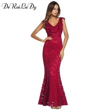 DeRuiLaDy 2018 Women Spring Summer Sexy Lace Long Dress Ruffle V-neck Elegant Sexy Backless Party Bodycon Maxi Dresses vestidos