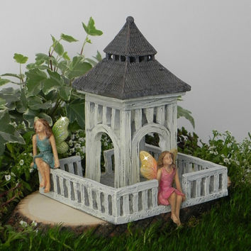 Fairy Garden Gazebo, fairy furniture, miniature garden supply, fairy accessories, sitting fairies, fairy accessory, outdoor fairy garden