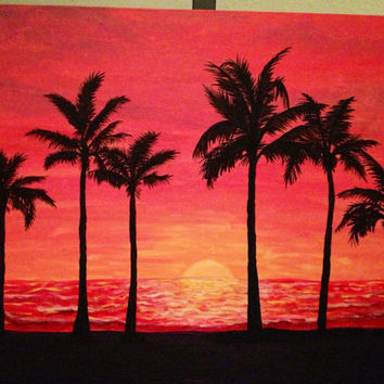 Sunset with Palm Tree Silhouettes, acrylic painting