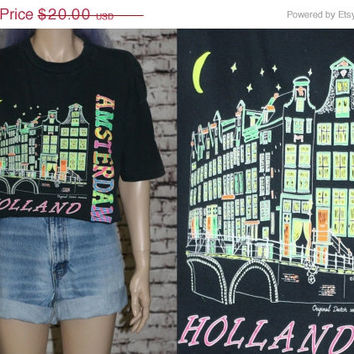40% OFF 80s tshirt graphic Amsterdam Holland souvenir tee black neon colors grunge hipster punk festival 90s shirt dutch bright travel s m l