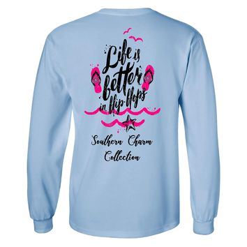 Southern Charm Life is Better in Flip Flops on a Long Sleeve Sky Blue T Shirt