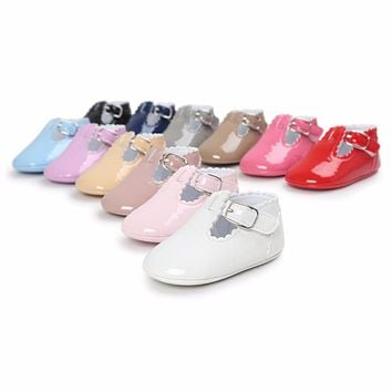 New Brand Patent Toddler First Walkers Pu leather Round Toe Baby shoes Flats Babe Ballet Dress Princess Soft Soled Shoes