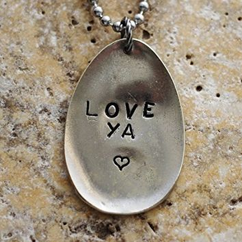Spoon Necklace Hand Stamped LOVE YA Silverware Pendant