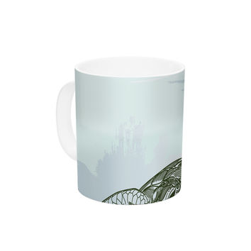 "Sam Posnick ""Sea Turtles"" Green Blue Ceramic Coffee Mug"