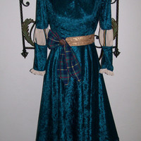 Scottish Princess  Brave Merida  Adult Size Custom Made VELVET Gown Dress