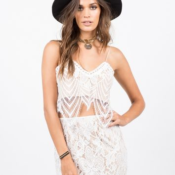 Wavey Overlay Lace Crop Top