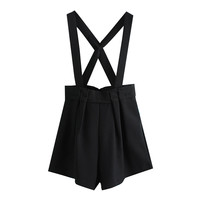 Black Cross Strap Pleated Romper