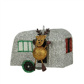 "3.5"" Glitter Drenched Reindeer and Vacation Camper Decorative Christmas Ornament"