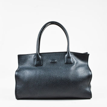 Tod's Black Grained Leather Satchel Double Handle Tote Bag