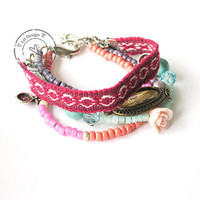 Friendship Ibiza hippie boho armbanden in pink mint door LeiDesign