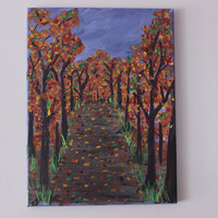 Fall Decor, Fall art on canvas, tree art, autumn painting
