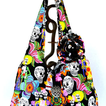 Large - Reversible - Hobo Style Bag - Sugar Skull - Wedding Print - Retro Mexican Print