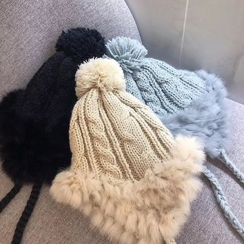 Women Cute Earmuffs Beanie Hat