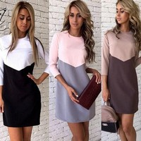 Winter stitching hit color casual dress
