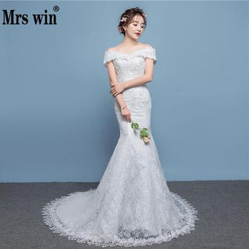 2018 New Off The Shoulder Mermaid Wedding Dress Lace Bridal Mermaid Gown Cheap Wedding Dress
