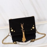 YSL SAINT LAURENT WOMEN'S SUEDE LEATHER KATE INCLINED CHAIN SHOULDER BAG