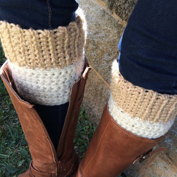Reversible Hand Crochet Beige and White Boot Cuffs, Oatmeal Boot Cuffs, Khaki Beige Boot Cuffs, Fall Cuffs,  2 in One Boot Cuffs, Boots