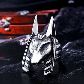 BEIER Old Egypt Ring God Style Jackal Head For Man Unique Stainless Titanium Steel Amulet Viking jewelry for man BR8-363