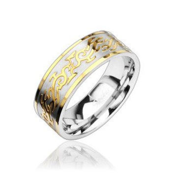 Fire Tribal – FINAL SALE Classy High Shine Stainless Steel and Intricate Gold Tribal Design Ring